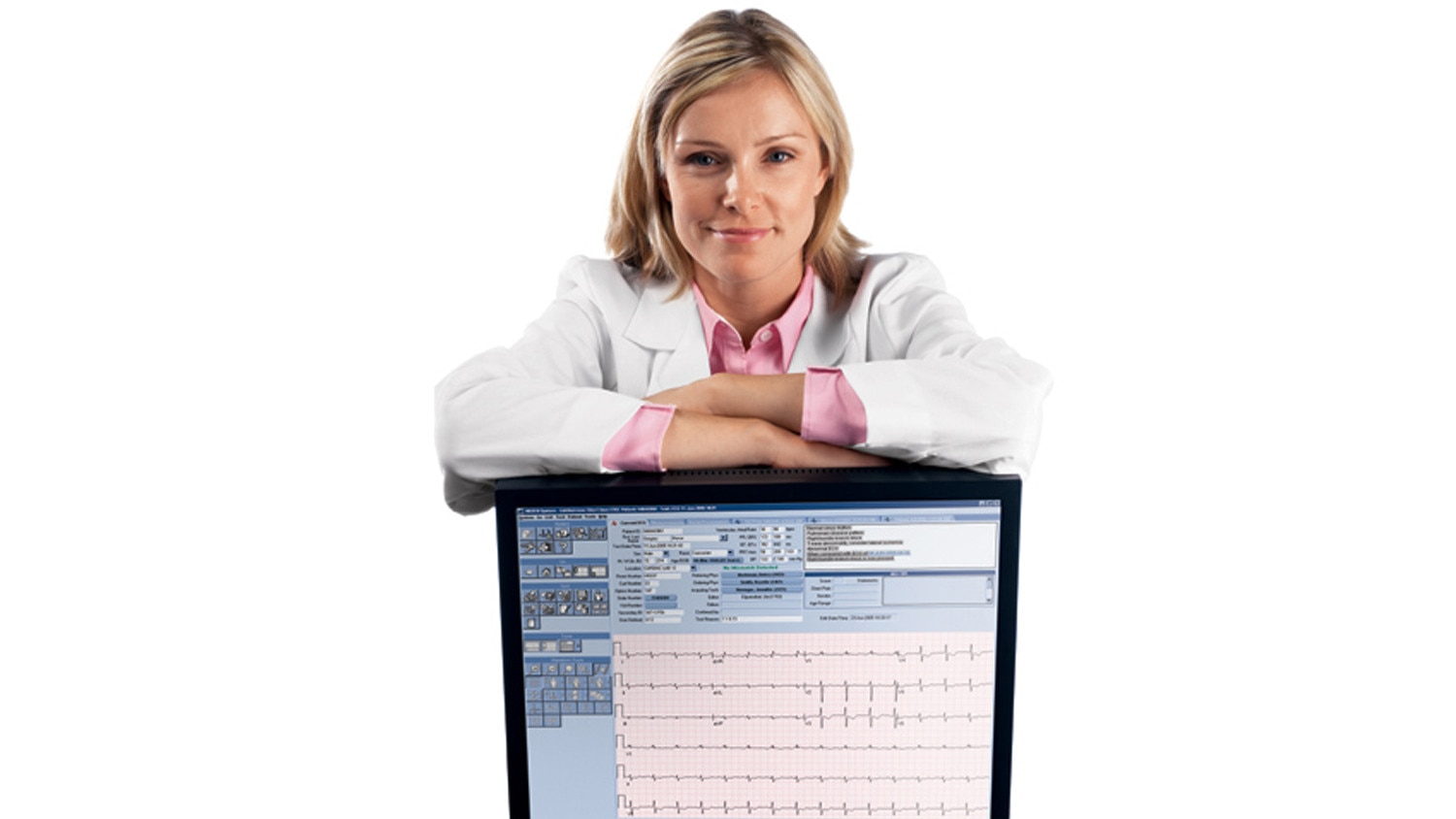 doctor with MUSE monitor.